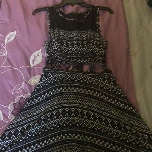 High low black and white dress.